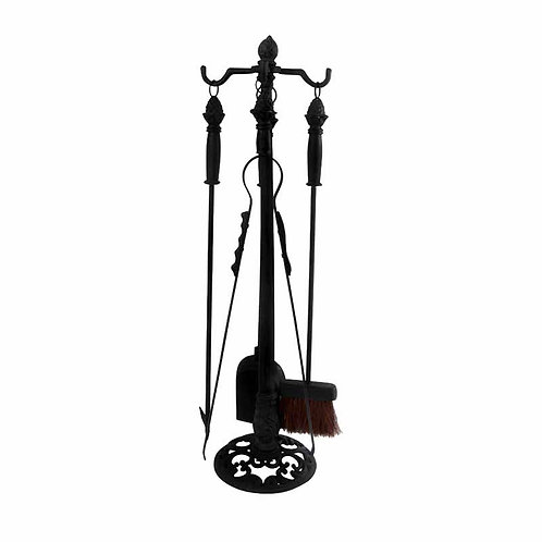 Fireplace Tool Stand – 4 pc Set – Cast Iron – Black