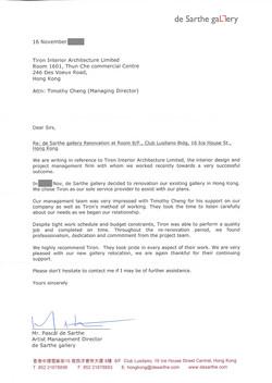 de Sarthe Gallery Ref Letter