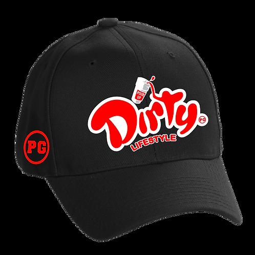 Dad Hat DIRTY - Black w/ Red