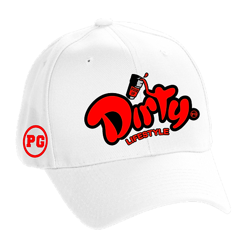 Dad Hat DIRTY - White w/ Red