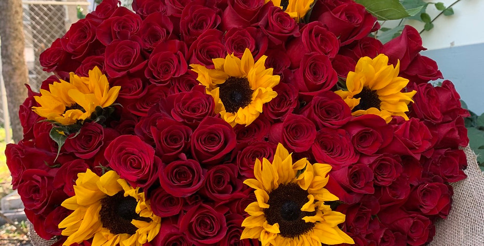 100 Roses & Sunflowers Wrapped