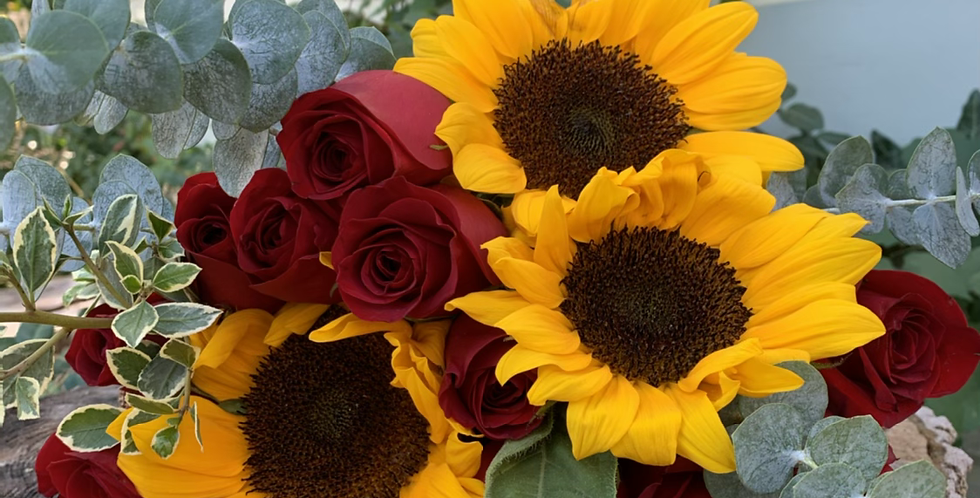 Wrapped Roses & Sunflowers