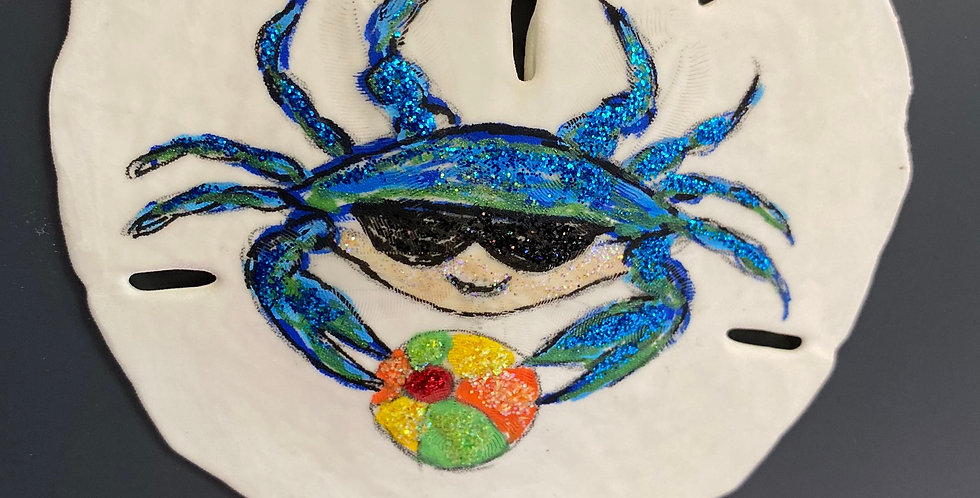 blue crab with beachball