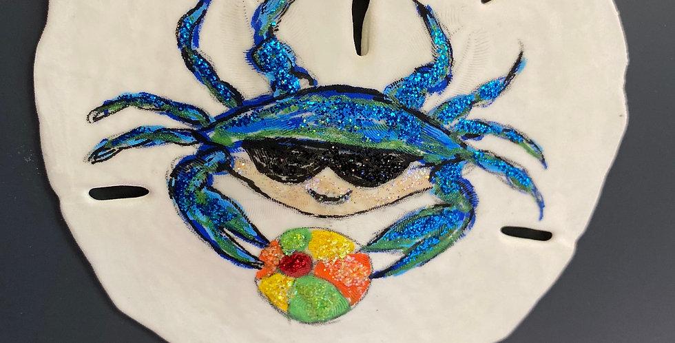 blue crab with beachball