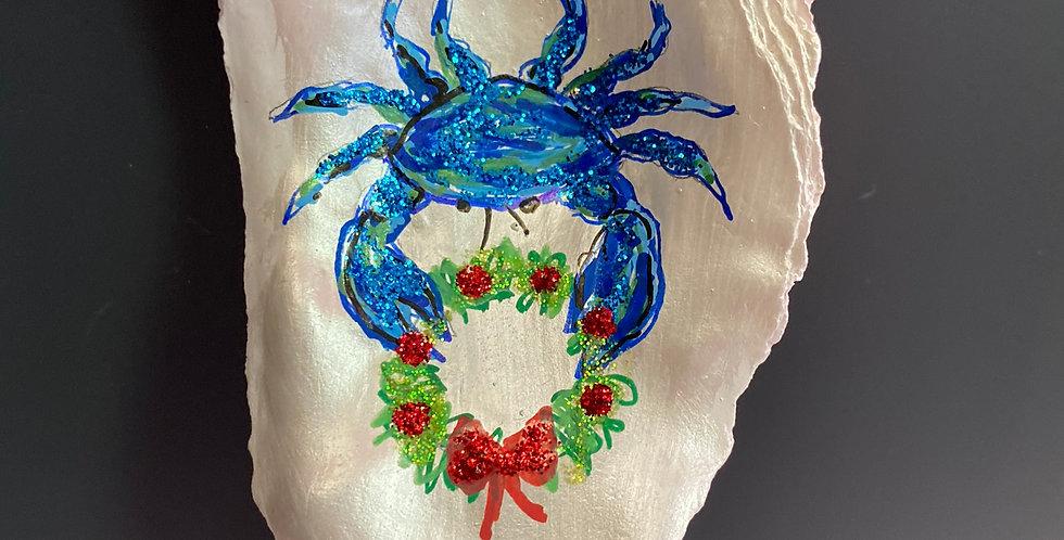 blue crab w/wreath oyster shell