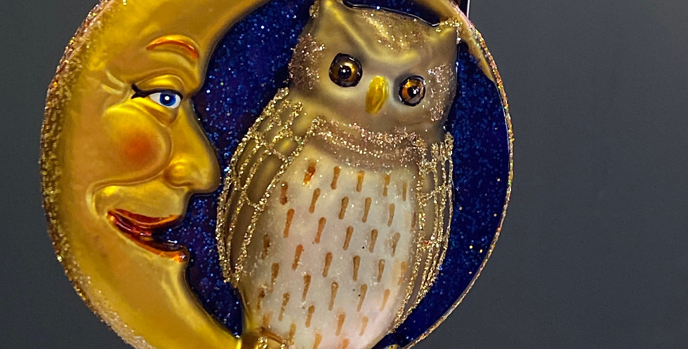 Old World Christmas Owl in Moon