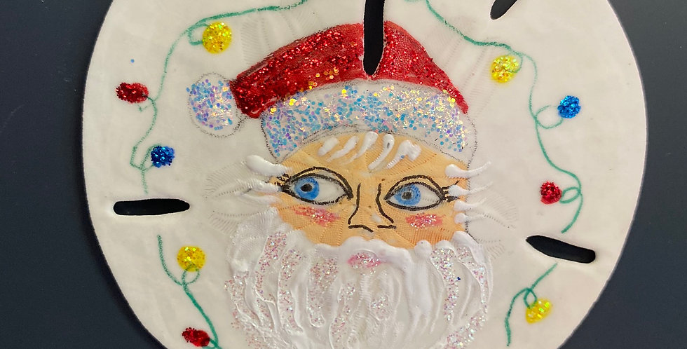 Santa face w lights sand dollar