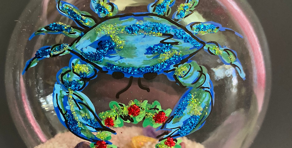 blue crab w/ wreath sand disc