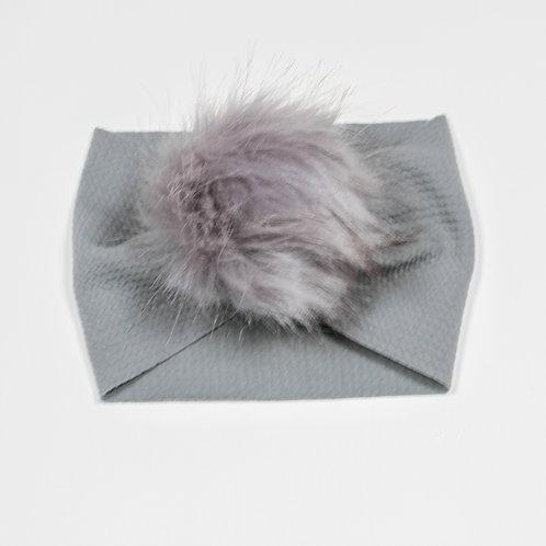 Grey Puff Ball Headband