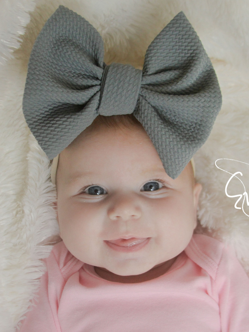 evelyn lane hair bows grey big bow nylon