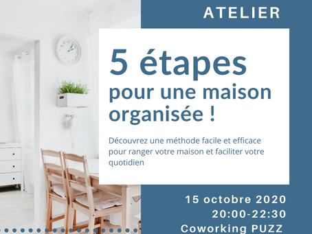 """Atelier """"5 étapes pour une maison organisée"""" - 15.10.2020 à Emines"""