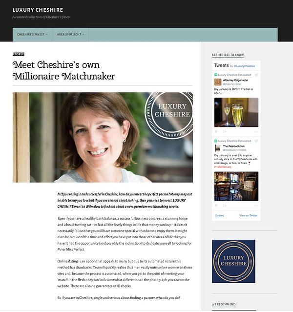 Cheshire matchmaker INTRO Annabel Hannam