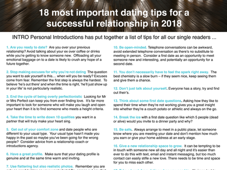 18 tips for a successful relationship in 2018