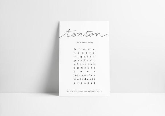 """Carte collection famille """"Tonton"""""""