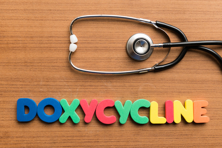 Doxycycline is written with colorful letters on a wooden board with a stethoscope.