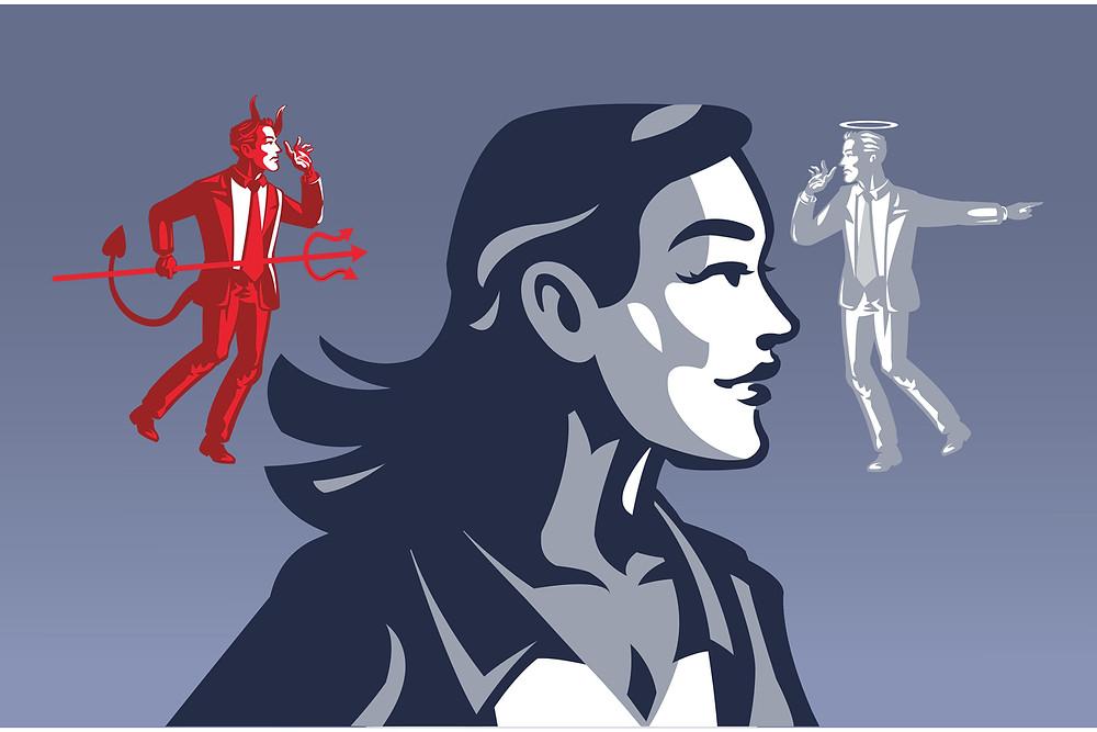 à la gauche du profil d'une jeune femme se trouve un petit diable rouge et à sa droite il y a un magnétiseur représenté en ange blanc, Le tout sur un fond bleu.