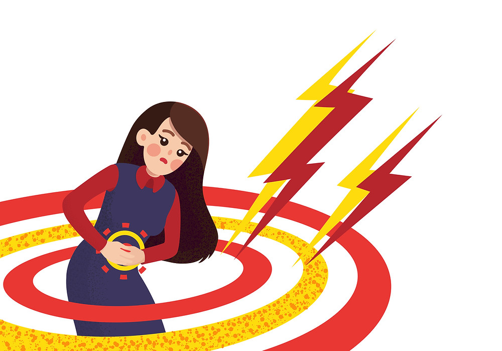 A woman has her hands resting on her stomach suffering from gastroesophageal reflux disease and she is surrounded by three circles with two lightning bolts.