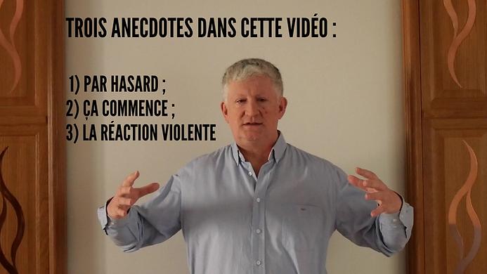 Un magnétiseur les bras levés montre entre ses mains le magnétisme avec des textes : trois anecdotes dans cette vidéo YouTube, ça commence, par hasard et la réaction violente.