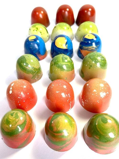 VEGAN/DAIRY FREE.  Bright Box of 18 Handmade ARTISAN chocolates