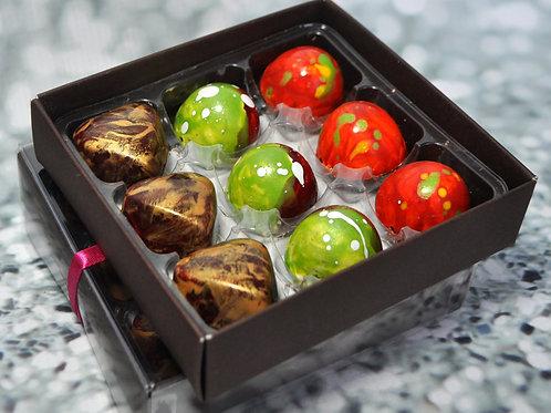 9 Handmade ARTISAN chocolates - DARK chocolate mix