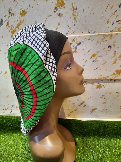 Bonnet bande noire vert/blanc/noir