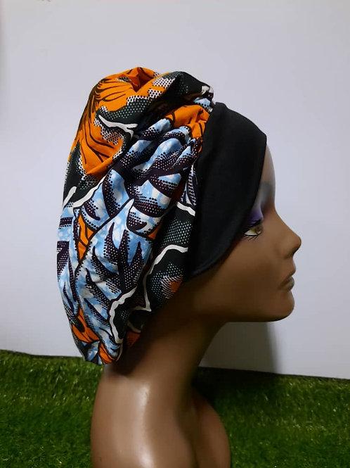 Bonnet bande noire motif orange/bleu