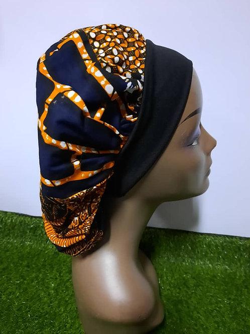 Bonnet bande noire motif orange/noir