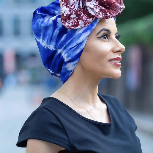 Head wrap bleu
