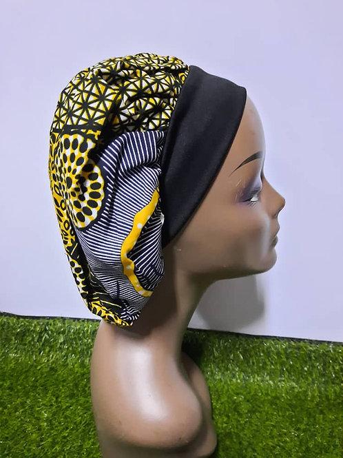 Bonnet bande noire motif jaune/noir