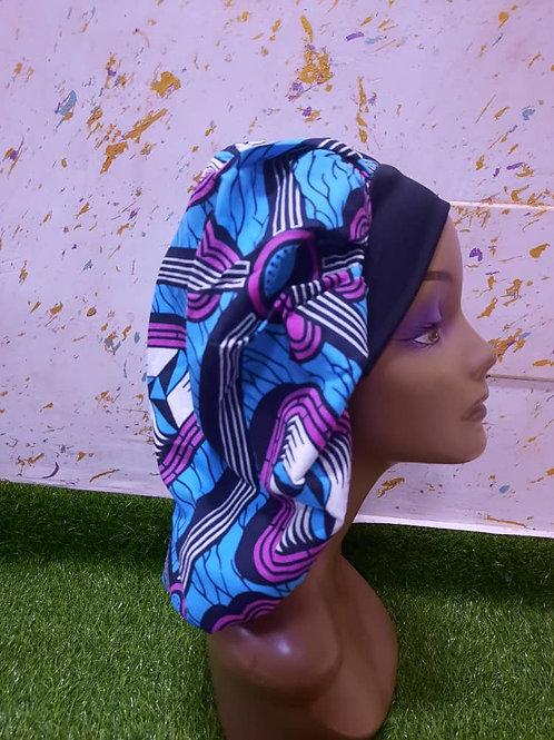 Bonnet bande noire motif bleu/violet
