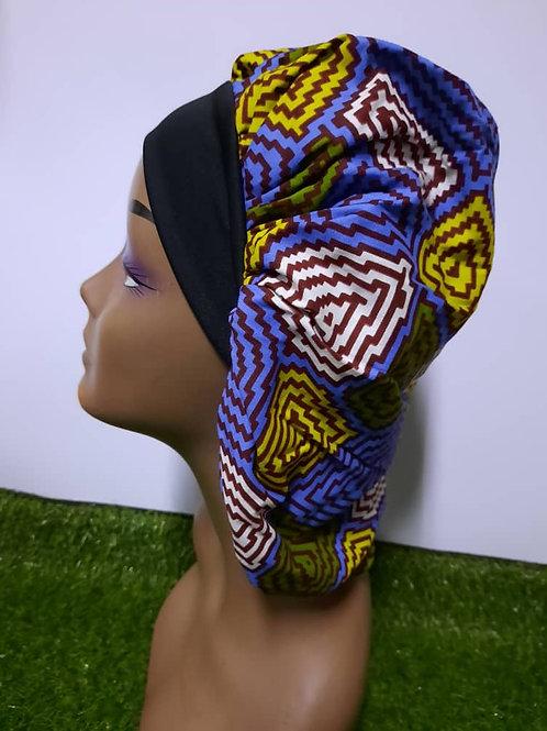 Bonnet bande noire motif mauve/blanc/jaune
