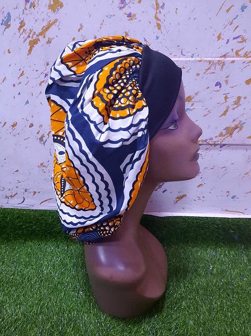 Bonnet bande noire motif bleu/orange/blanc