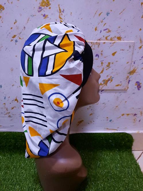 Bonnet bande noire motif blanc/jaune/bleu/vert/rouge/noir