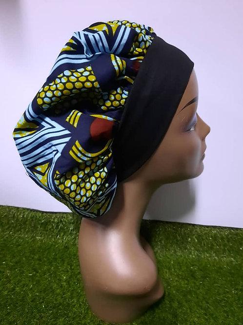Bonnet bande noire motif bleu/jaune