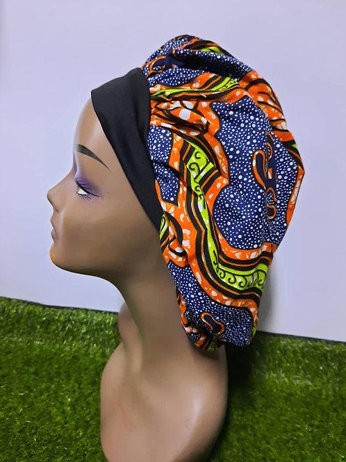 Bonnet bande noire motif orange/bleu/jaune