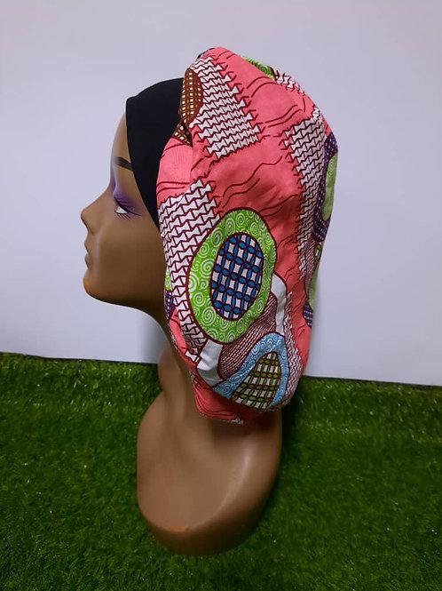 Bonnet bande noire motif rose/vert/brun