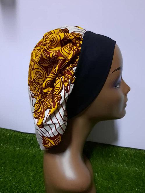 Bonnet bande noire motif moutarde