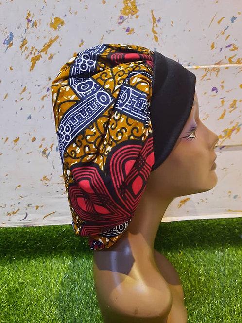 Bonnet bande noire motif rouge/orange