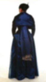 Custom Prom Dress ensemble of blue silk with matching corset, skirt, and beaded wrap