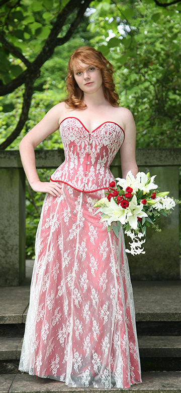 Corset and skirt wedding ensemble red with white lace overlay - Enchanted Custom Corsets