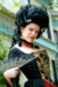 Enchanted Custom Corsets' owner, Lisa Marie, in custom Victorian ensemble