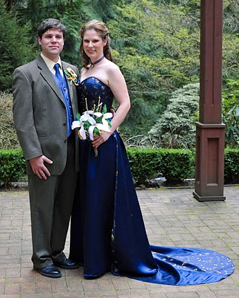 Enchated Custom Corsets Sapphire Blue Wedding Gown