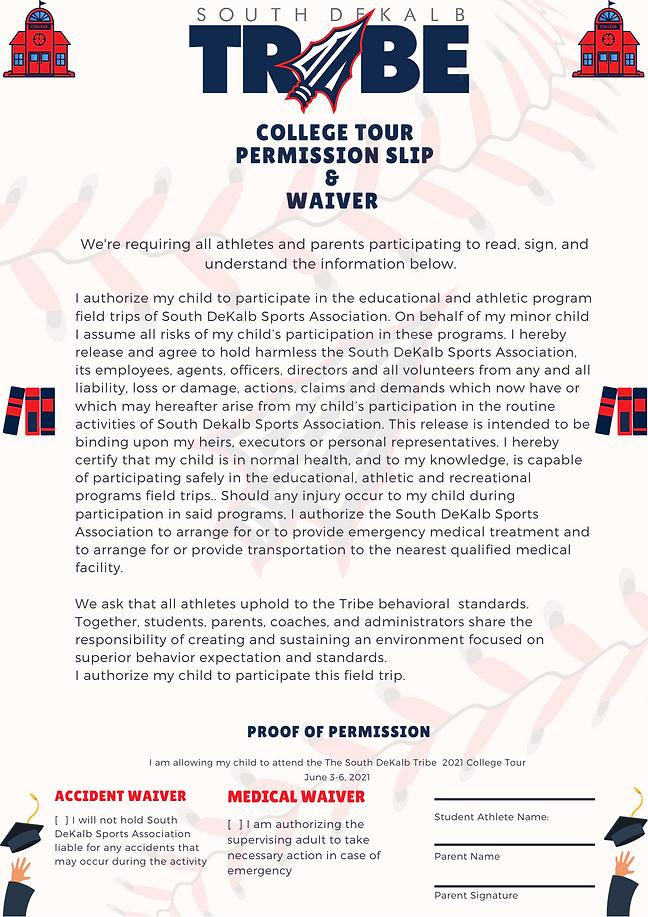 South DeKalb Tribe Permission Slip & Wai