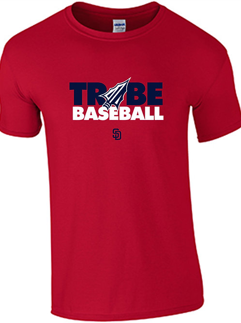 Tribe Baseball Cotton T-Shirt - RED