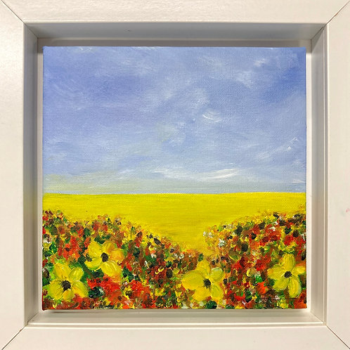 yellow field with flowers