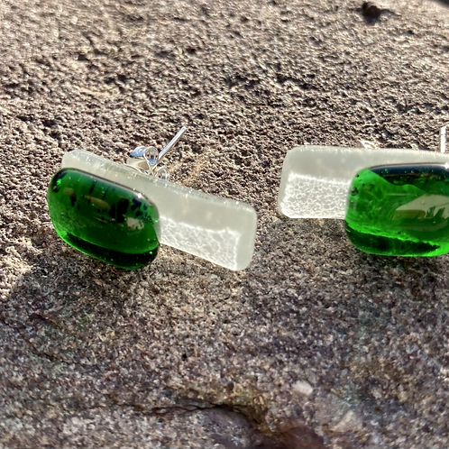Unique glass studs, green and frosted white glass