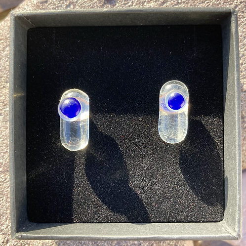 Unique glass studs, clear and blue