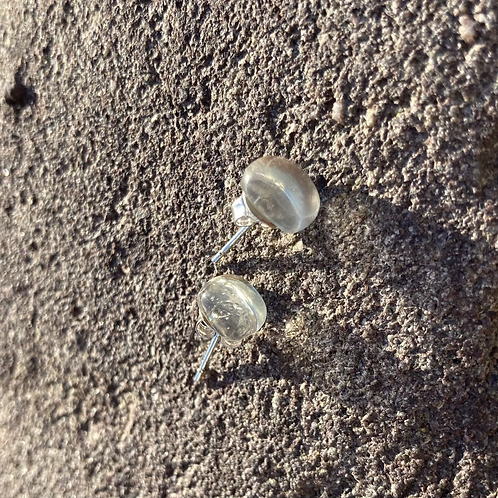 glass studs,  clear silver