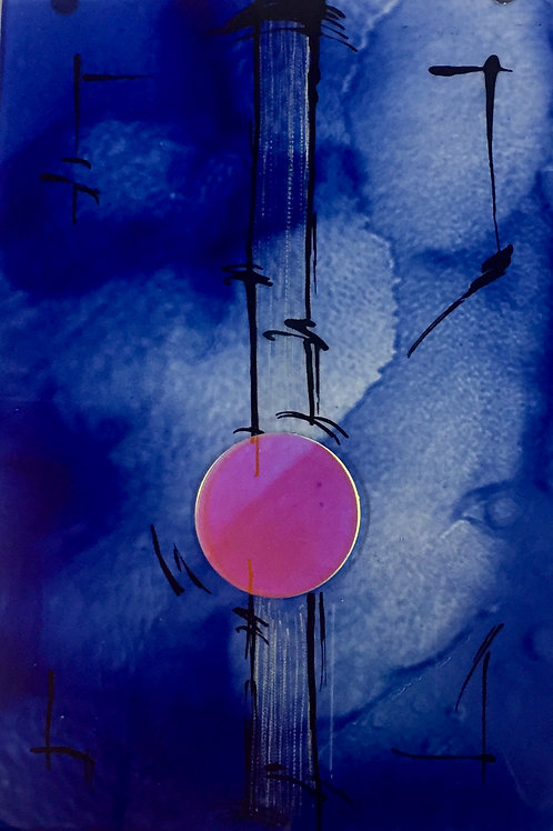 glass picture 'blue with pink'