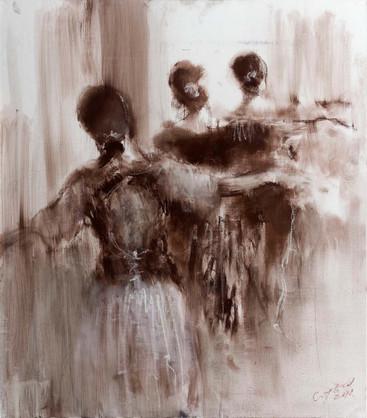 """У балетного станка"". Холст, пастель. 60х70. 2017."